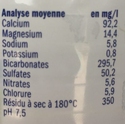 Eau de Montagne - Nutrition facts - fr
