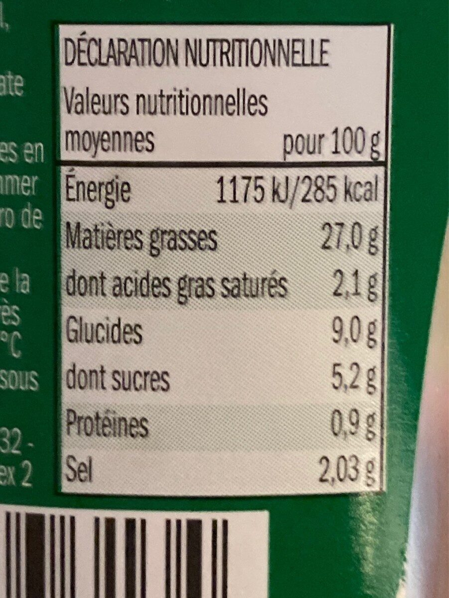 Sauce frites - Valori nutrizionali - fr