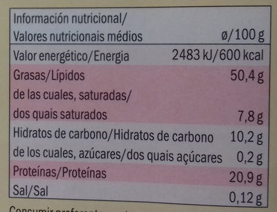 Sésamo natural - Informació nutricional