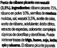 Pasta de wasabi - Ingredientes