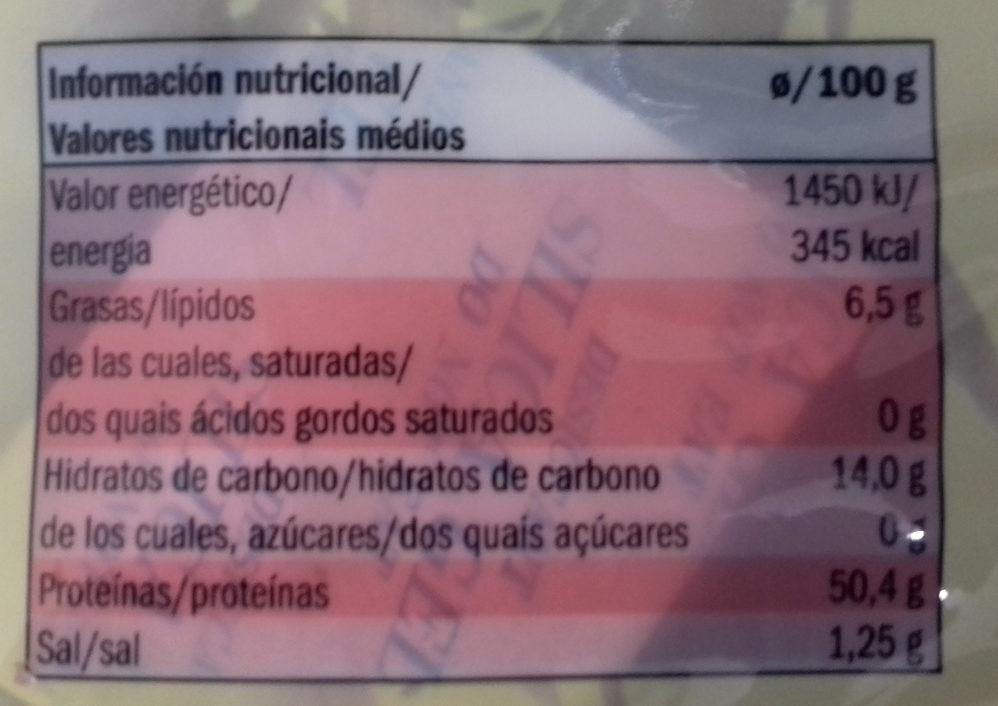 Algas nori - Informació nutricional - es