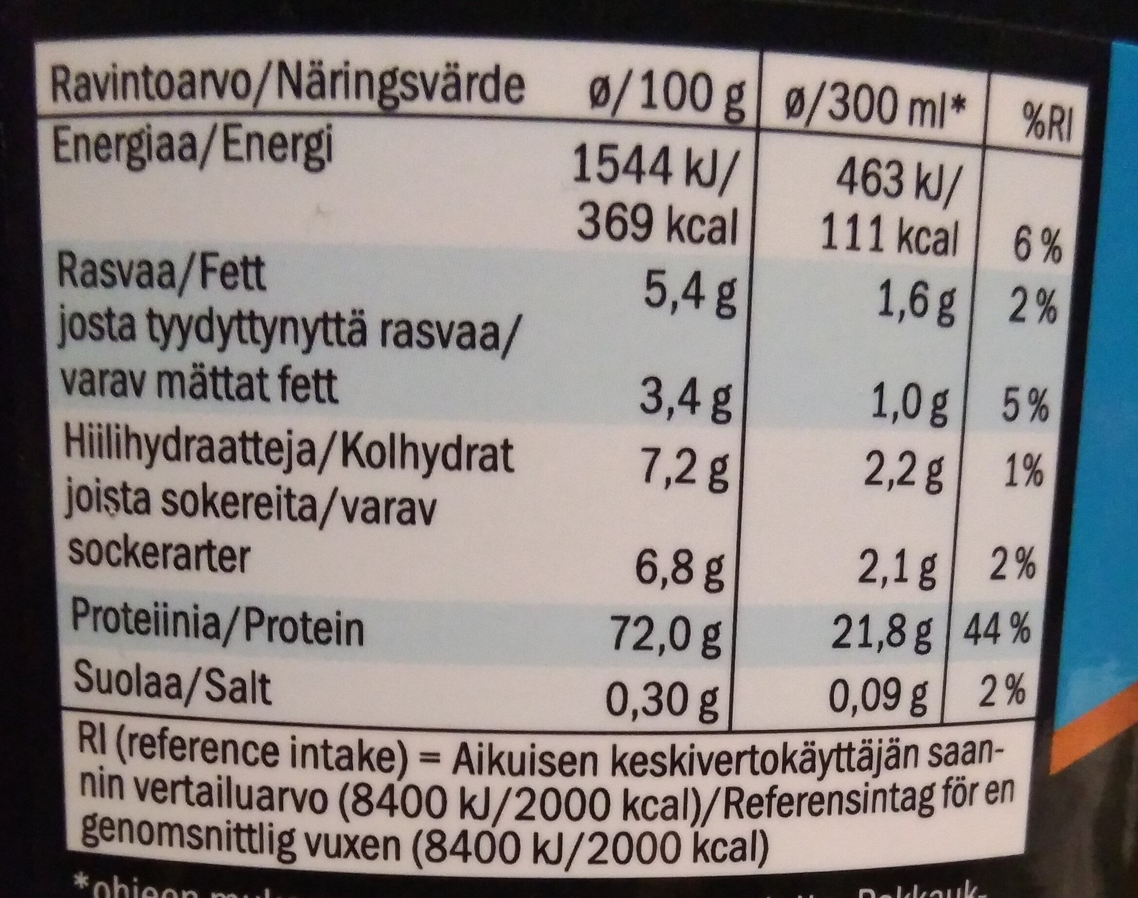 Whey Pro+ Chocolate Flavour - Nutrition facts - fi