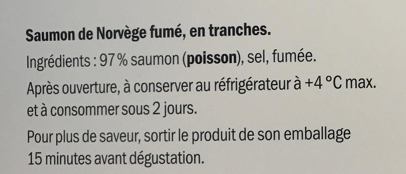 Saumon de Norvège fumé - Ingredients - fr