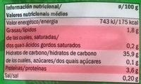 Arroz para microondas jasmin - Información nutricional
