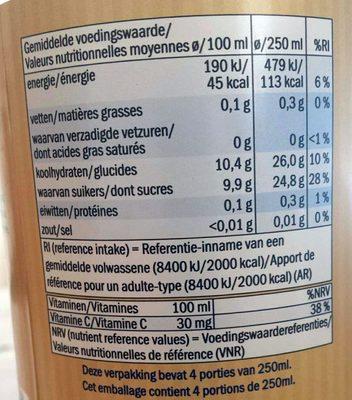 Jus de pomme non filtré - Informations nutritionnelles