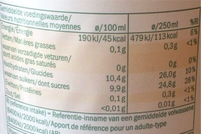 SOLEVIA POMME FRUIT PRESSE - Nutrition facts - fr
