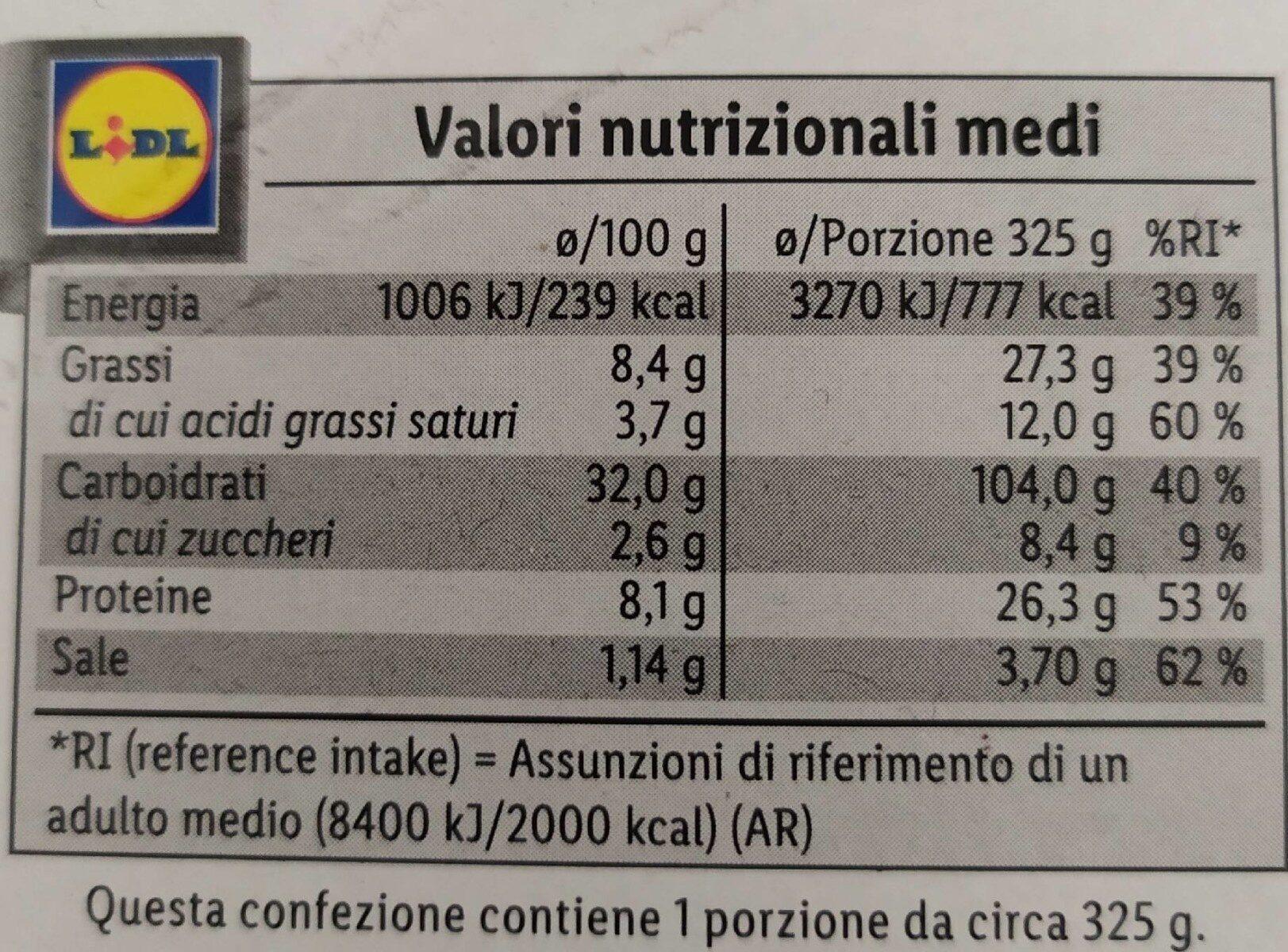 Pizza porcini e tartufo - Nährwertangaben - de