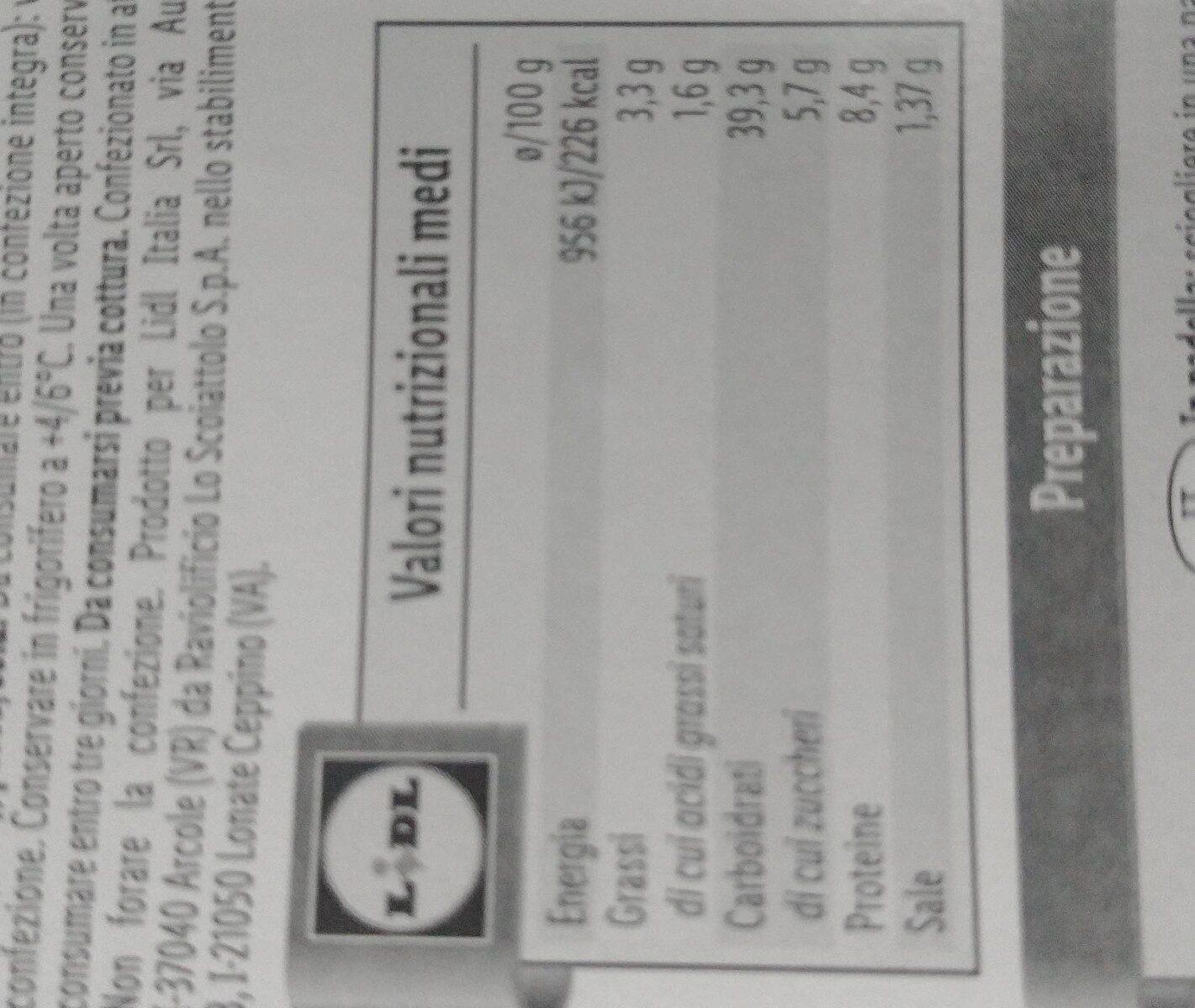 Pappardelle ripiene - Informations nutritionnelles - fr