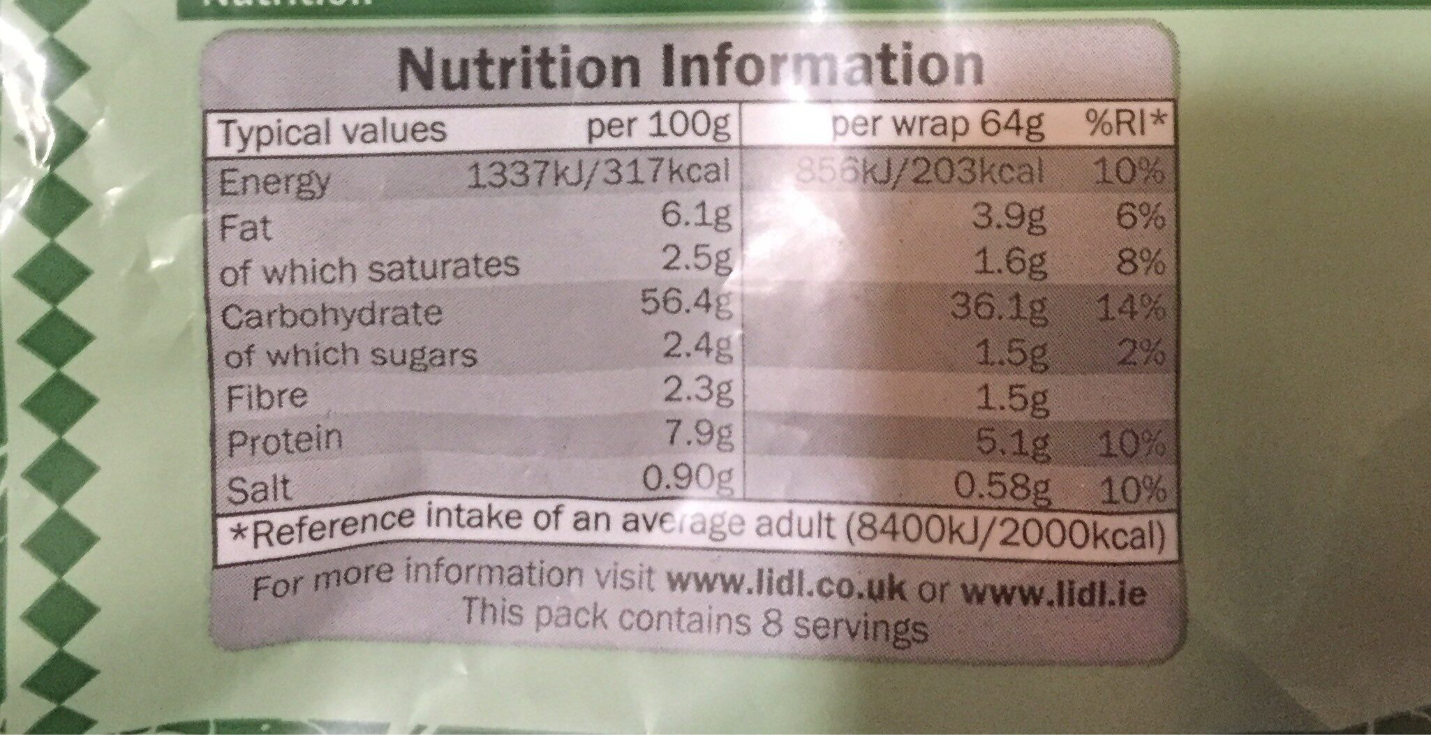 Tortilla wtaps - Nutrition facts
