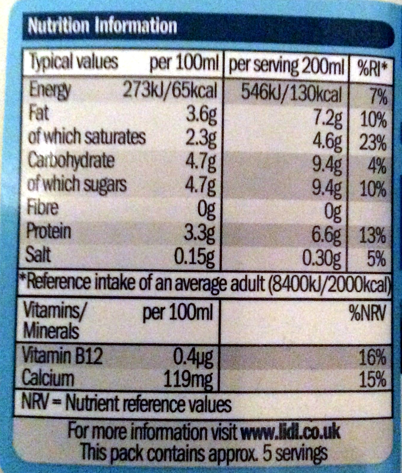 Whole Milk Nutrition Facts 100ml