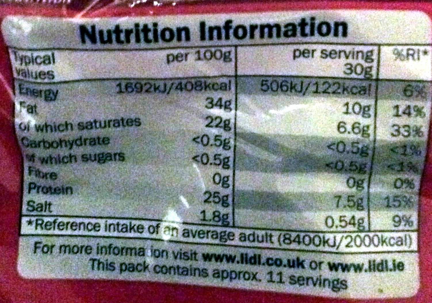 mature cheddar - Nutrition facts