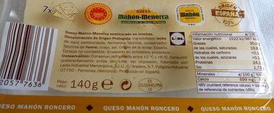 Queso mahón semicurado - Nutrition facts