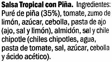 "Salsa tropical con piña ""Kania"" - Ingredients"