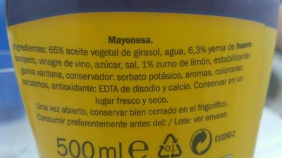 Mayonesa - Ingredients