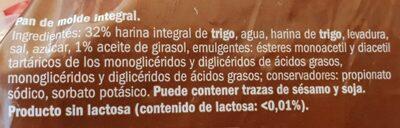 Pan de molde integral de trigo - Ingrédients - fr