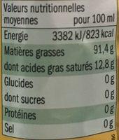 Huile d'olive vierge extra d'Espagne - Informations nutritionnelles - fr