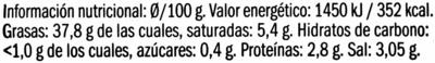 Paté de aceitunas negras de Aragón con ajo y cebolla - Voedingswaarden