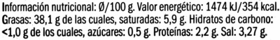 Paté de aceitunas negras de Aragón con cayena - Nutrition facts - es