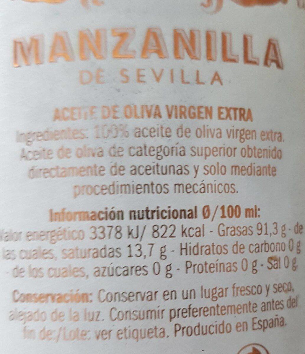 Olisone aceite virgen extra picual - Voedigswaarden