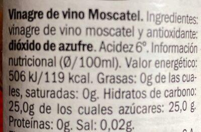 Vinagre de moscatel - Informació nutricional - es