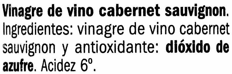 Vinagre de Cabernet Sauvignon - Ingredientes - es