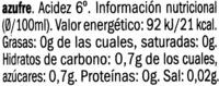 Vinagre de Cabernet Sauvignon - Información nutricional - es