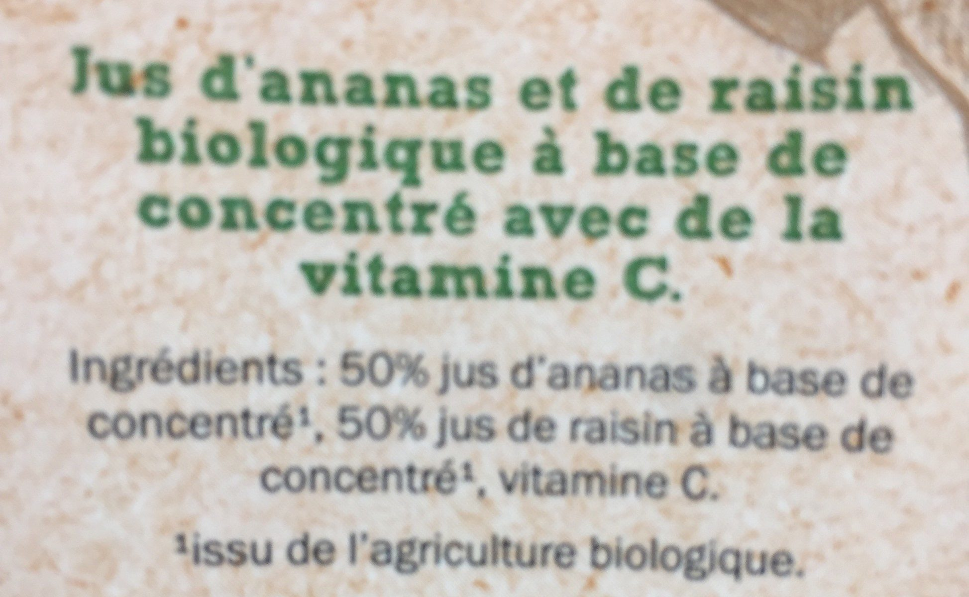 Jus ananas raisinà base de concentré - Ingrédients - fr