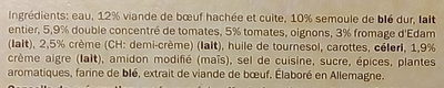 Trattoria Alfredo Lasagne Bolognese Beef - Ingrédients