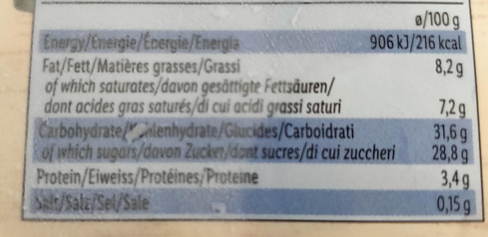 Noblissima Creme Brulee - Nutrition facts - fr