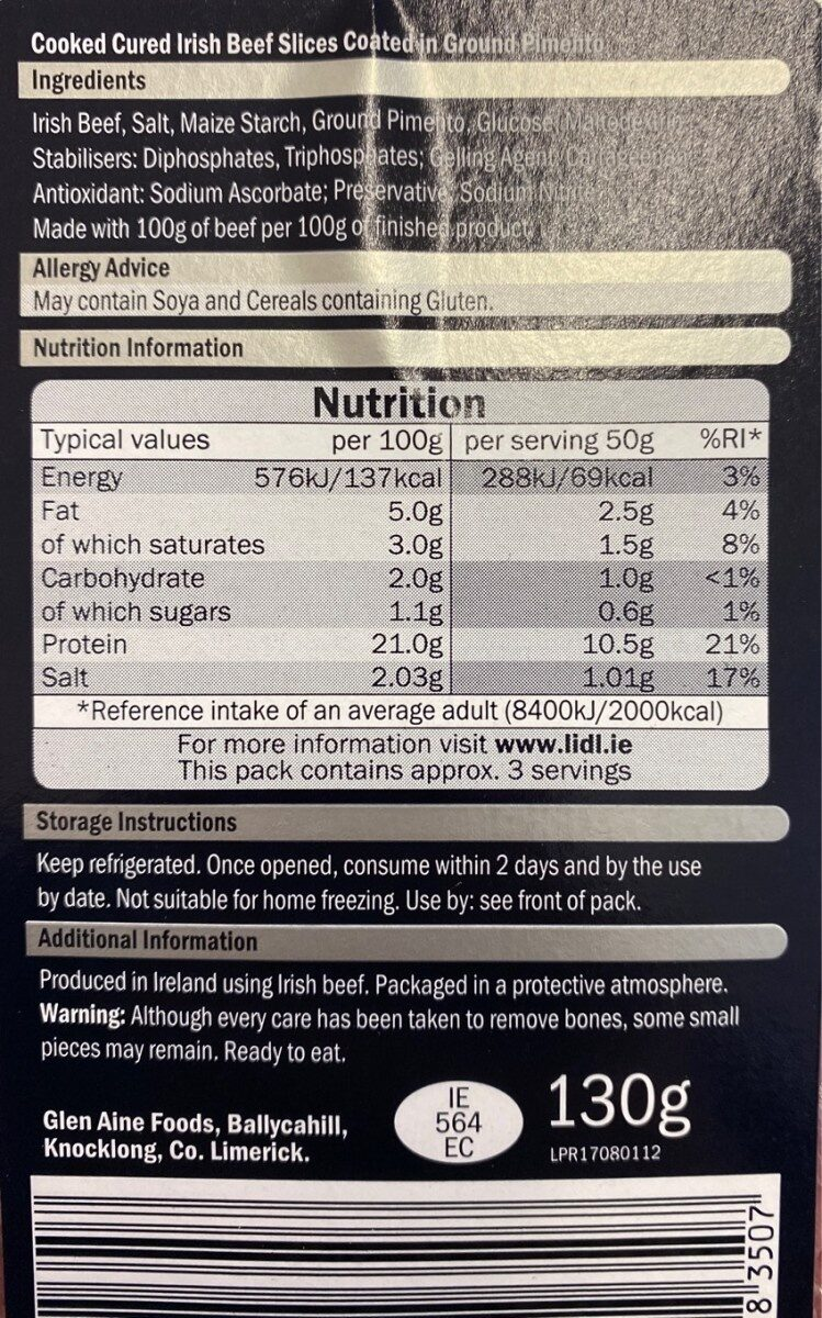 Irish carved spiced beef - Nutrition facts - en