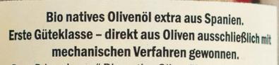 Bio natives Olivenöl extra - Inhaltsstoffe