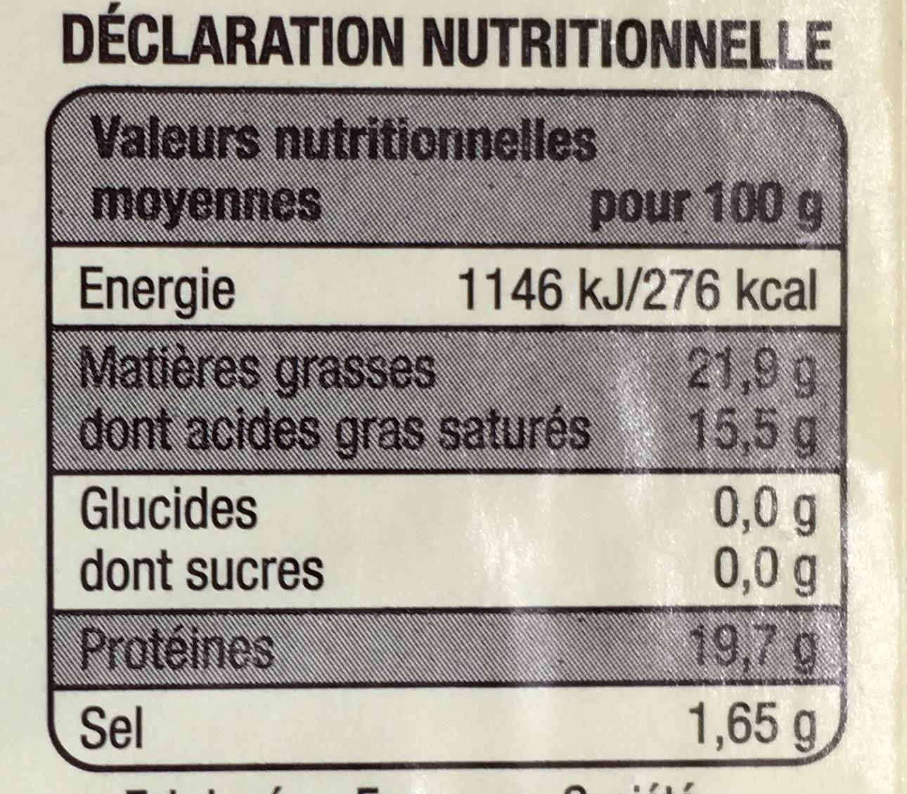 Camembert de Normandie au lait cru - Nutrition facts - fr
