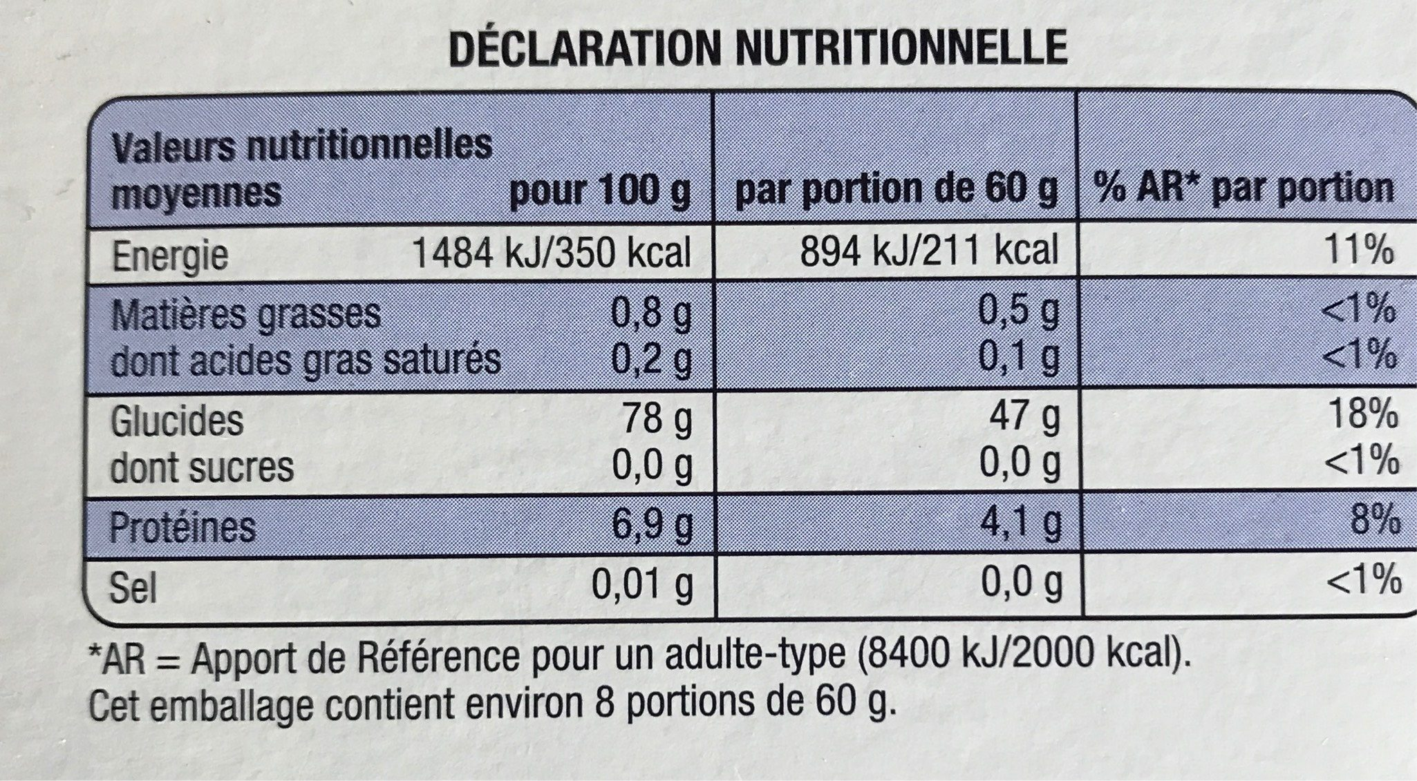 Riz de Camargue long blanc - Voedingswaarden