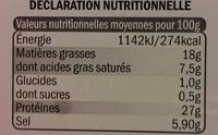 Jambon sec traditionnel - Informations nutritionnelles - fr