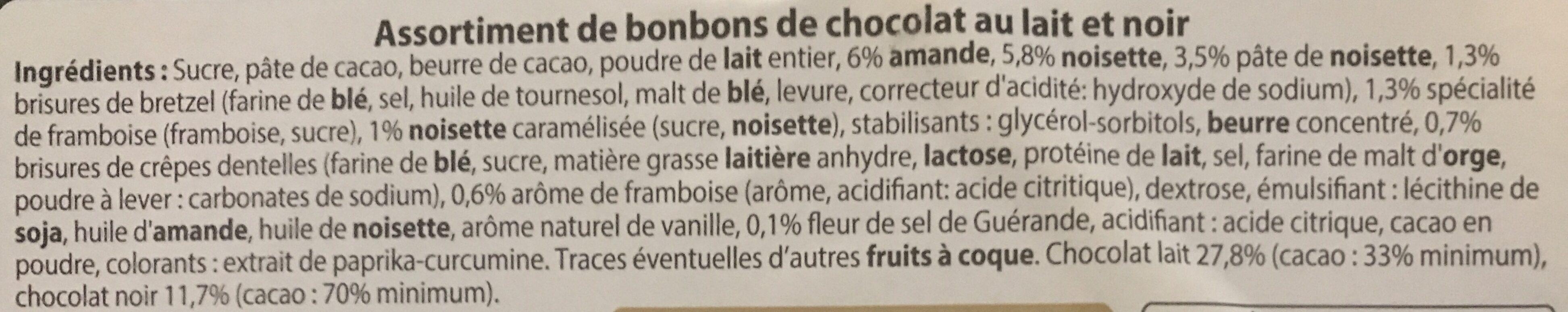 Bonbons de Chocolat au Lait - Ingredients