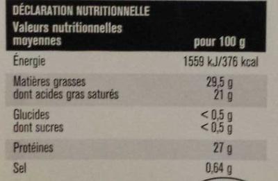 10 tranches Emmental français - Informations nutritionnelles