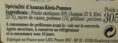 Confiture ananas kiwi - Ingrédients - fr