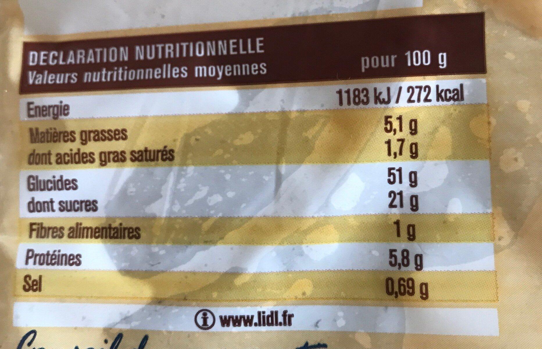 Chinois Crème Pâtissière - Informations nutritionnelles - fr