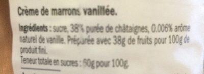 Crème de Marrons - Ingrédients - fr