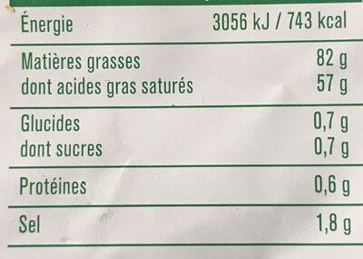 Beurre gastronomique demi sel - Informations nutritionnelles
