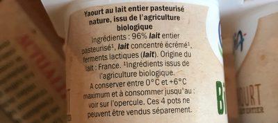 Yaourt au Lait Entier Nature - Ingrédients