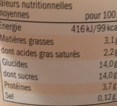 Yaourt au lait entier vanille - Voedingswaarden - fr