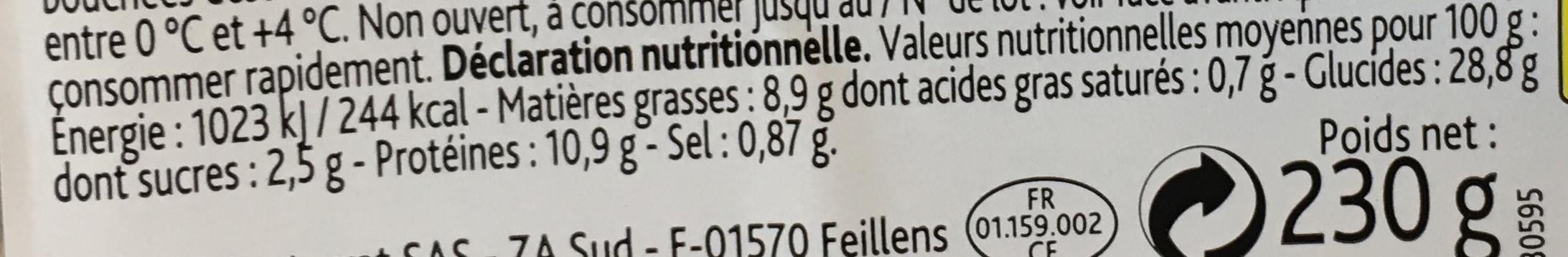 Crudités Thon Mayonnaise allégée Maxi - Voedigswaarden