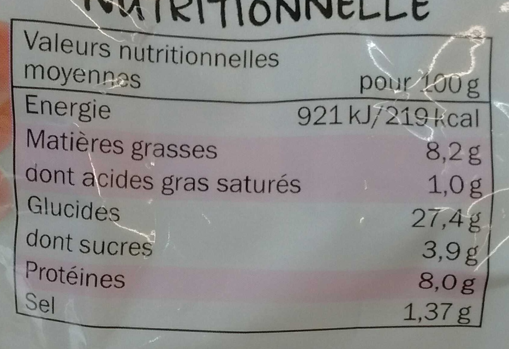 Viennois Crudités Jambon Oeuf Mayonnaise - Nutrition facts - fr