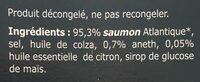 Émincé de saumon fumé aneth et citron - Ingrédients - fr
