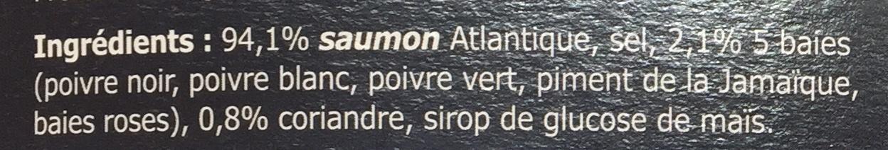 Émincés de Saumon fumé 5 baies & coriandre - Ingrédients - fr