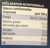 Émincés de Saumon fumé 5 baies & coriandre - Informations nutritionnelles - fr
