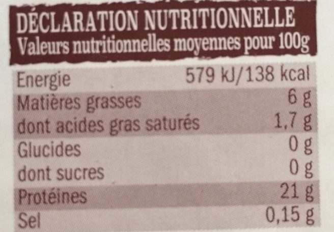 Poulet - Nutrition facts - fr