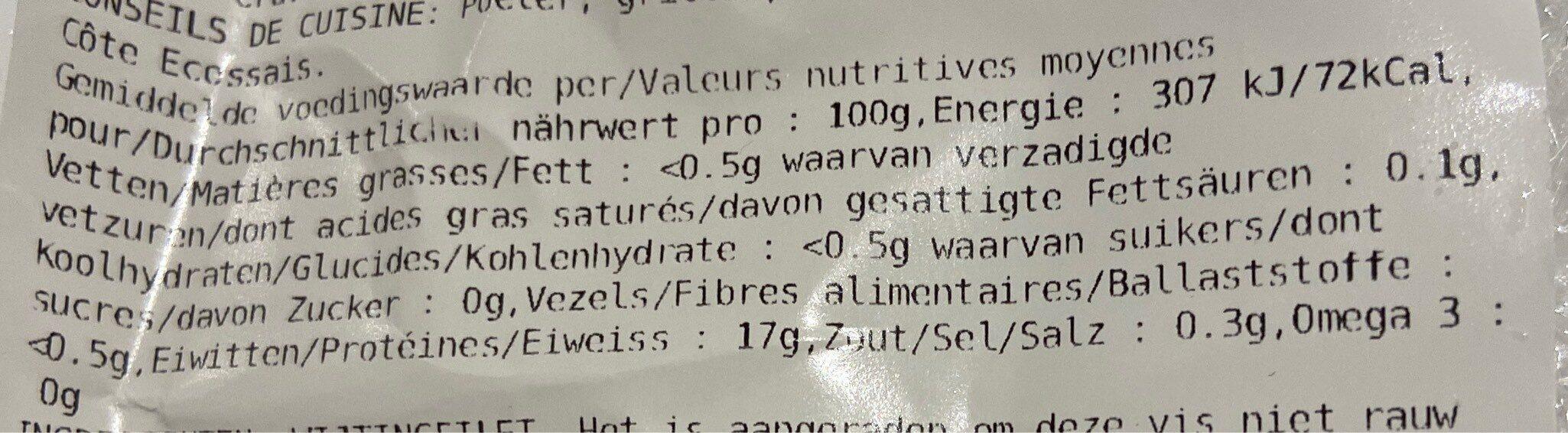 Filet de merlan - Informations nutritionnelles - fr