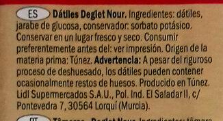 Alesto Fine Datteln - Ingredientes - es